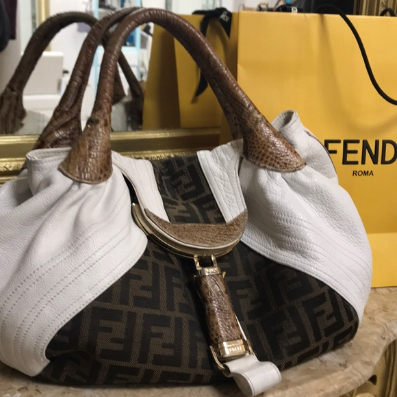 Fendi Handbags - AUTHENTIC WHITE AND TAN FENDI SPY BAG. 1295e3684591e